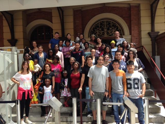 Refugiados e voluntários. Foto: arquivo pessoal