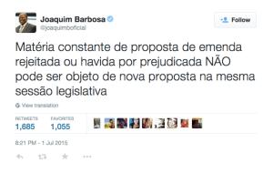 Ex-ministro Joaquim Barbosa se manifesta em relação a Pedalada Legislativa