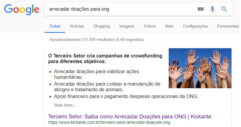 """Primeira posição do Google para """"arrecadar doações para ongs"""""""