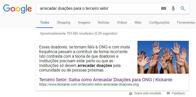 """Primeira posição do Google para """"arrecadar doações para o terceiro setor"""""""