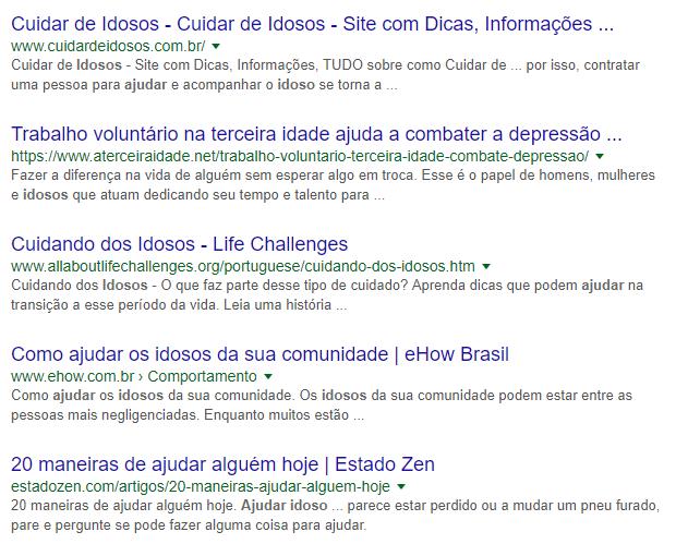 """Exemplo de resultado do Google para a busca """"ajudar idosos"""""""