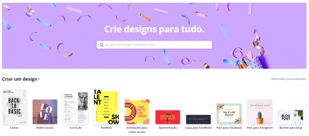 Menu do Canva
