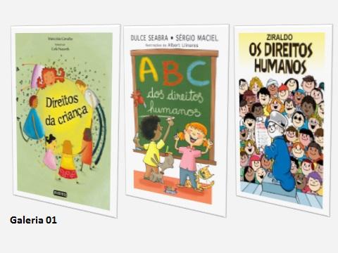 São livros com texto expositivo. Seu uso é aconselhado, para ensinar as crianças, do que se tratam os Direitos Humanos.