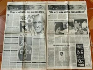 """Edição especial do jornal com a matéria """"Adeus, Betinho"""". Fonte de pesquisa."""