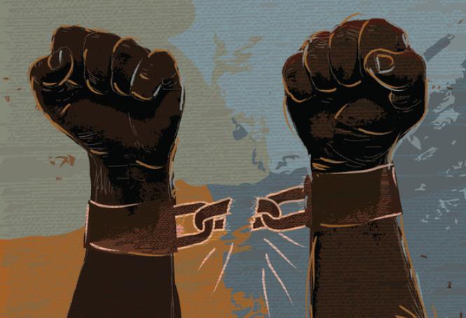 Imagem ilustrativa mãos quebrando correntes